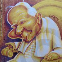 Caricatura del Papa Juan Pablo II (2014).