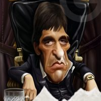 Caricatura de Tony Montana (Al Pacino) (2018).