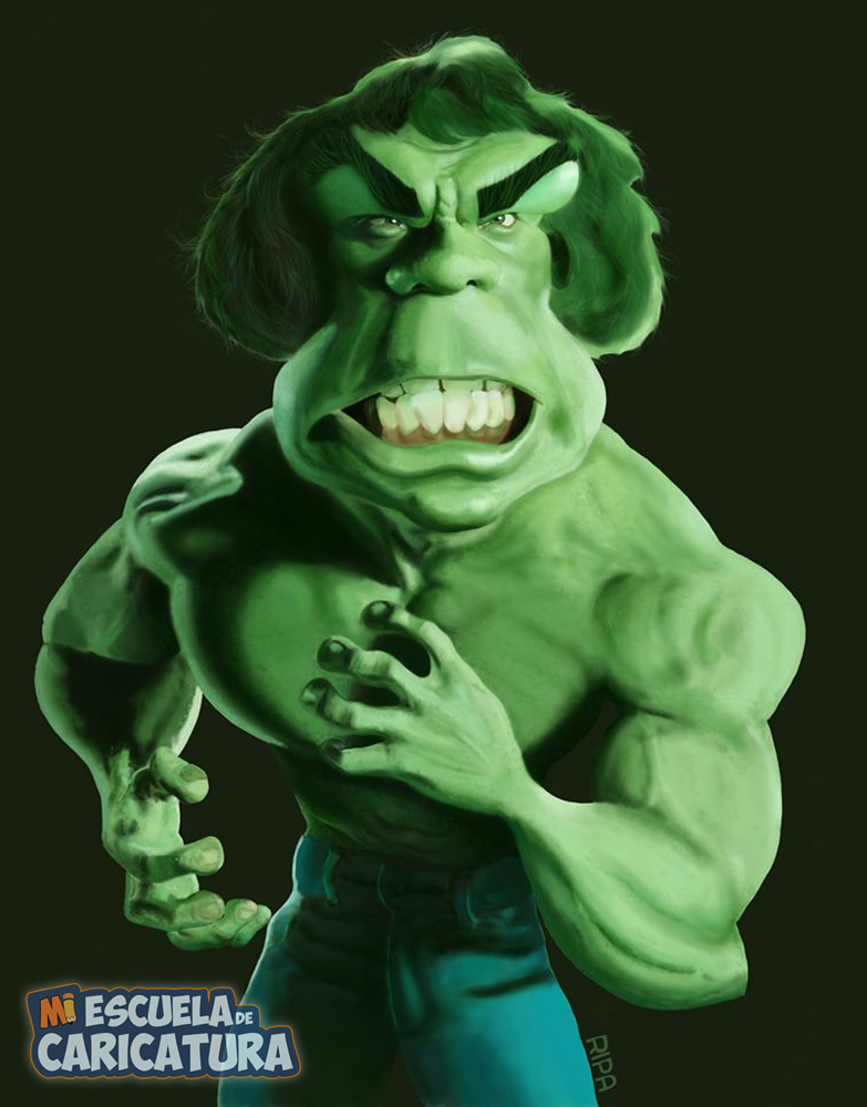 Caricatura de Hulk, según Jessica Ripa (color digital)