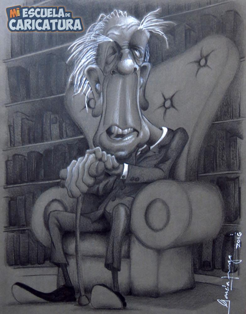 Caricatura de Jorge Luis Borges, según Gustavo Zúñiga (lápices polychromos)