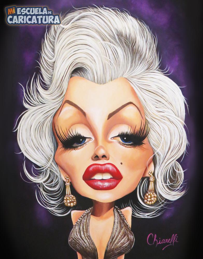 Caricatura de Marilyn Monroe, según Ivana Chiarelli (acrílicos)