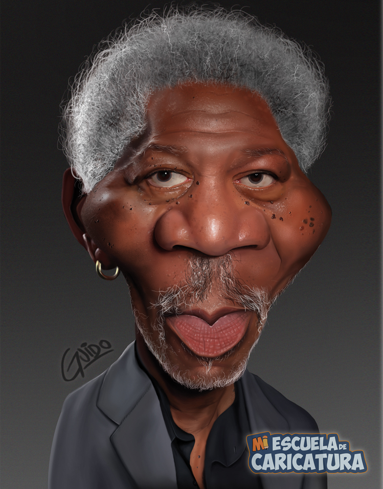 Caricatura de Morgan Freeman, según Guido Ferrero (Color Digital)