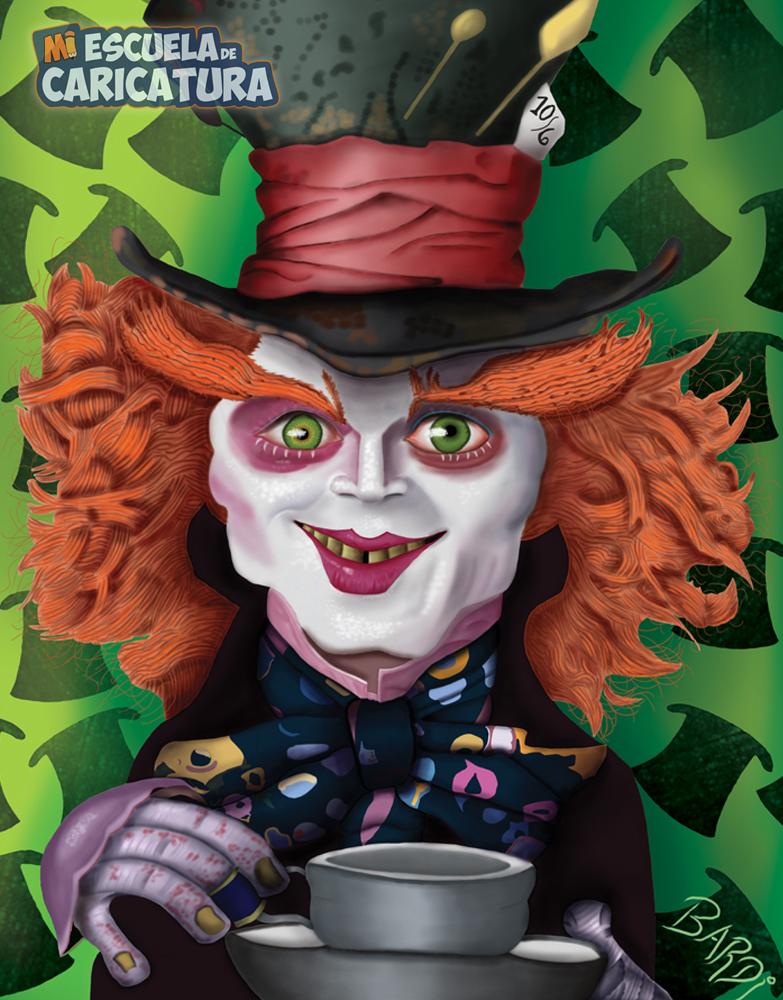 Caricatura del Sombrerero Loco (Johnny Depp), según Darío Bardi (color digital)