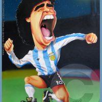 Caricatura de Diego Maradona (2001).