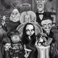 Caricatura de Los Locos Addams (2013).